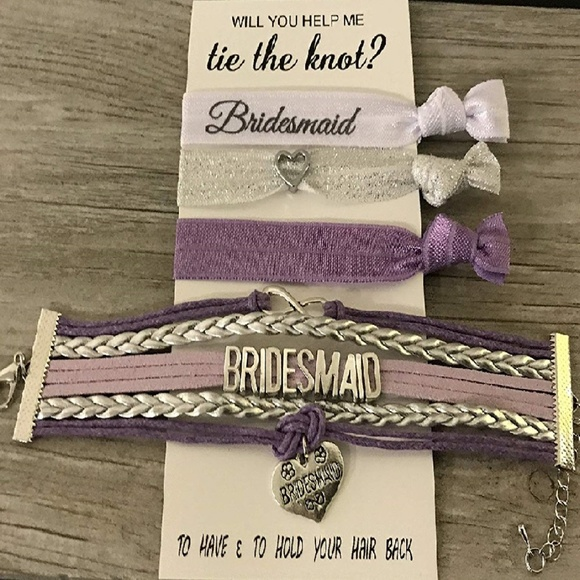 Bridesmaid Bracelet /& Hair Tie Set Makes The for Bridesmaids Infinity Collection Bridesmaid Gifts Bridesmaid Jewelry